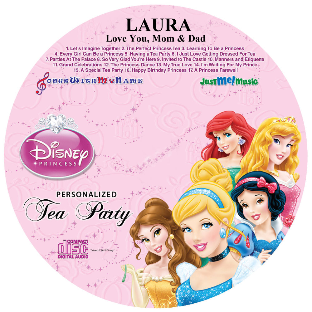 WALT DISNEY PRINCESS TEA PARTY - NAME PERSONALIZED CHILDREN - CD DISK & DIGITAL MP3