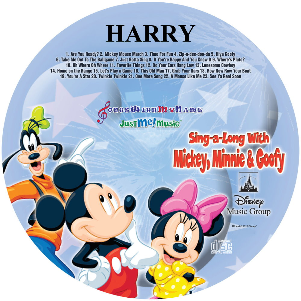 SING ALONG WITH MICKEY, MINNIE & GOOFY - NAME PERSONALIZED CHILDREN - CD DISK & DIGITAL MP3